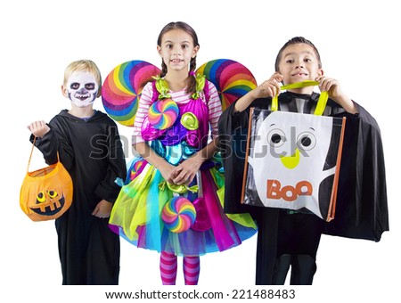 Halloween kids Trick or Treaters - stock photo