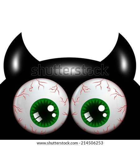 halloween monster with green big eyes with place for text - stock photo