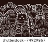 Halloween monsters in black and white - stock photo