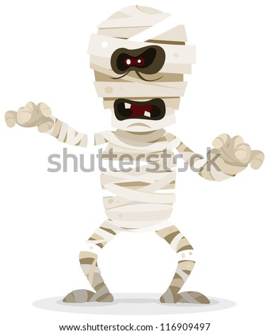 Halloween Mummy Character/ Illustration of a cartoon funny and creepy halloween egyptian mummy character wandering, for halloween holidays celebration - stock photo