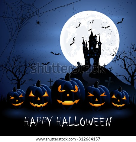 Halloween night background with pumpkins and castle, illustration. - stock photo