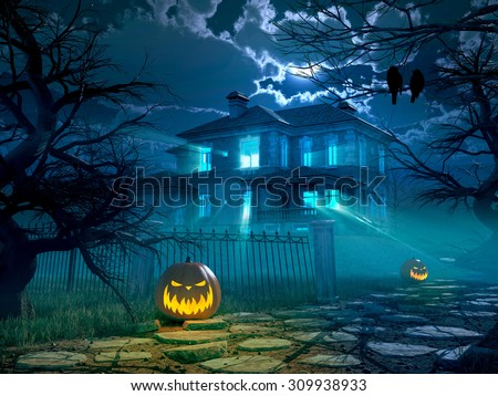 Halloween night background with scary house and crows and pumpkin, halloween party concept. 3d rendering - stock photo