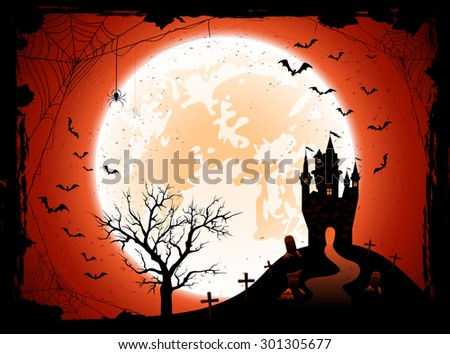Halloween night background with the Moon, castle, cemetery and bats, illustration. - stock photo