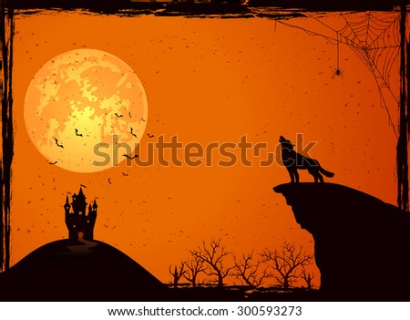 Halloween night background with wolf, castle, Moon, cemetery and bats, illustration. - stock photo