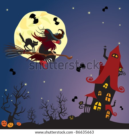 Halloween night: witch and black cat flying on broom to mystery house on moon background. Raster version - stock photo