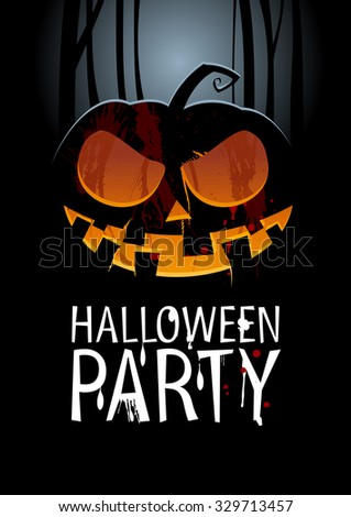 Halloween Party Design template with pumpkin, rasterized version. - stock photo