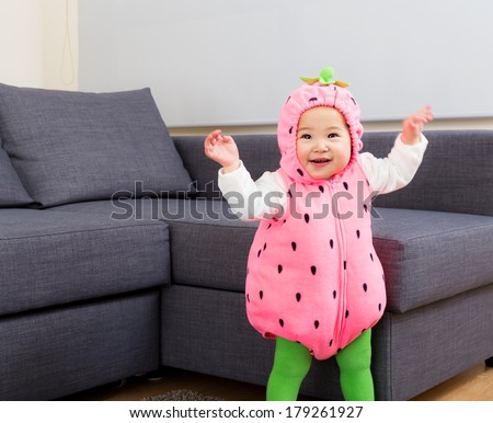 Halloween party dressing baby dance - stock photo