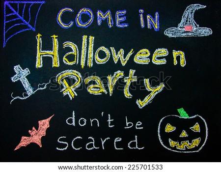 Halloween Party invitation sign on blackboard - stock photo