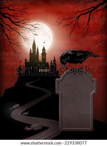 Halloween Party Invitation with castle silhouette on the hill against moonlight sky, Raven, gravestone - stock photo