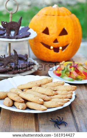 Halloween party table - stock photo