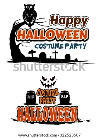 Halloween party themes with orange text decorated with tombstones, a graveyard, owl in a tree and face of a ghost - stock photo