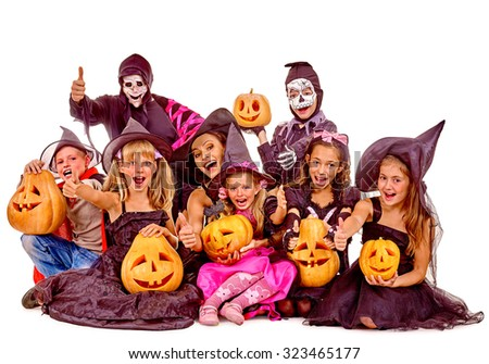 Halloween party with group children with pumkin. Isolated. - stock photo