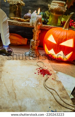 Halloween place on the old witches table - stock photo