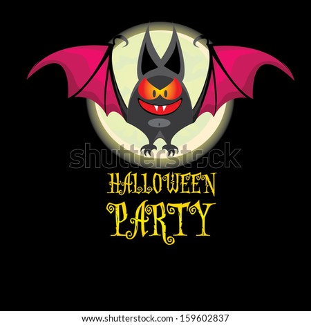 halloween poster or flyer with evil bat and night moon. raster version - stock photo