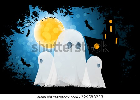 Halloween Poster with Ghosts and Haunted House - stock photo