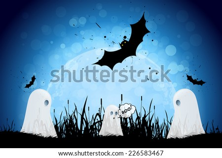 Halloween Poster with Ghosts, Bats and Moon - stock photo