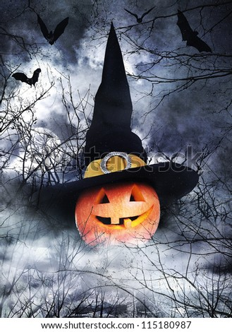 Halloween poster with pumpkin in witch hat on foggy background - stock photo