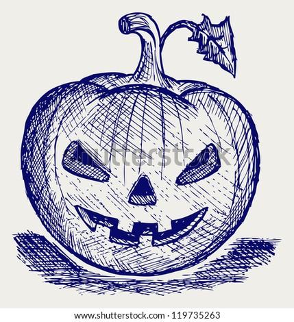Halloween pumpkin. Doodle style. Raster version - stock photo
