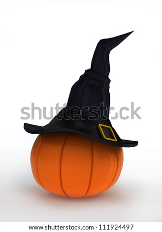 Halloween pumpkin dressed in magical witch hat - stock photo