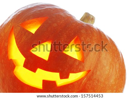 Halloween Pumpkin, funny Jack O'Lantern on white background - stock photo