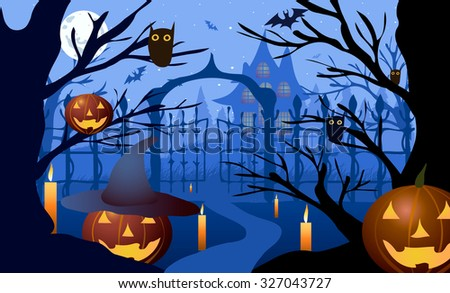 Halloween. Pumpkin hat against the backdrop of bare trees, gates and old house. - stock photo
