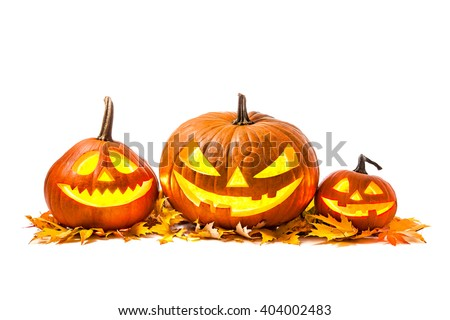 Halloween pumpkin head jack lantern with burning candles isolated on white background - stock photo