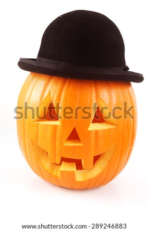 Halloween Pumpkin in hat on white - stock photo