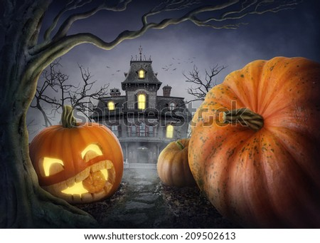 Halloween pumpkin in the forest - stock photo