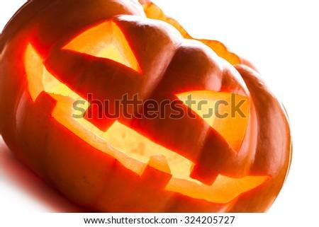 Halloween Pumpkin isolated on white background. studio shot - stock photo