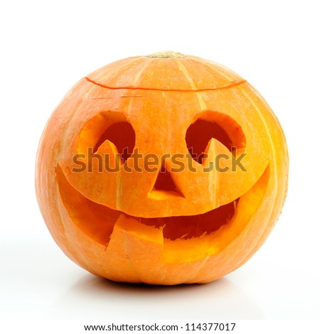 Halloween pumpkin Jack O'Lantern isolated on white - stock photo