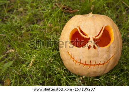 Halloween pumpkin on green grass close up - stock photo