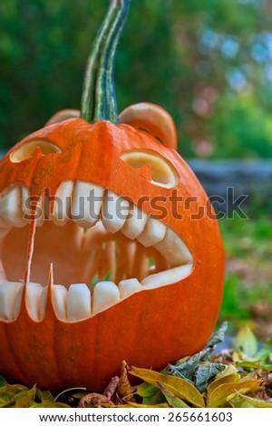 Halloween pumpkin on leaves background - stock photo