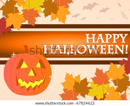 Halloween pumpkin over an yellow and orange background with vampires. - stock photo