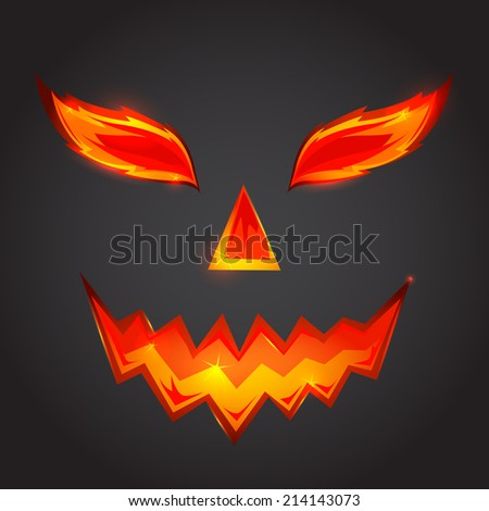 Halloween pumpkin scary face  - stock photo