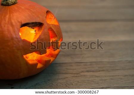 Halloween pumpkin,Scary Halloween pumpkin,Halloween theme - stock photo