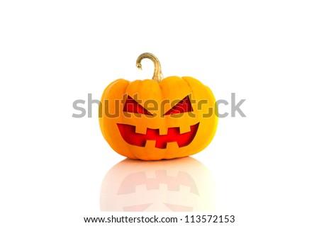 Halloween Pumpkin.Scary Jack O'Lantern isolated on white - stock photo