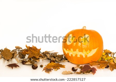 Halloween pumpkin with autumn leaves isolated on a white background with copy space for text - stock photo