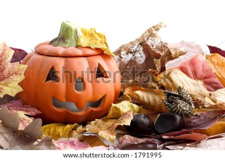 halloween pumpkin with autumn leaves on white - stock photo