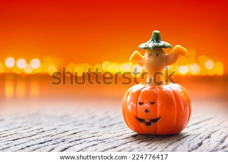 Halloween pumpkin with bokeh background - stock photo