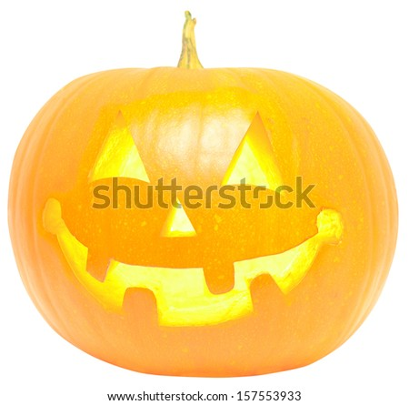 halloween pumpkin with burning eyes isolated on a white - stock photo