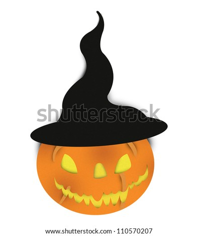 Halloween Pumpkin With Mage Hat Made From Recycle Paper Isolated on White Background - stock photo