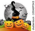 Halloween pumpkin with witches hat - stock photo