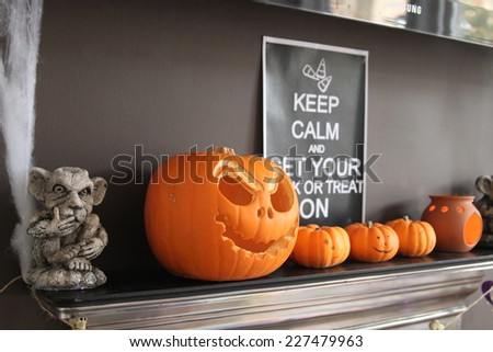 Halloween pumpkins and decorations - stock photo