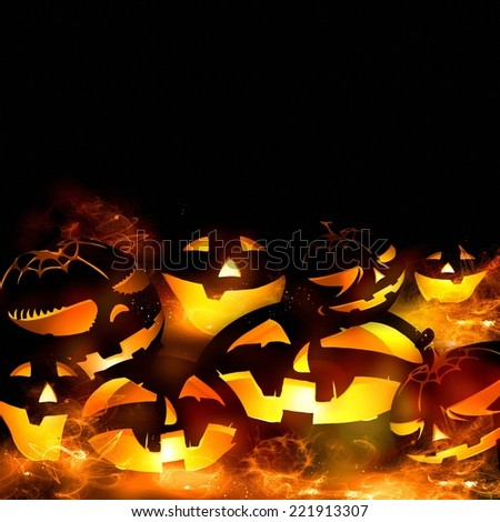 halloween pumpkins and fire flames black background illustration - stock photo