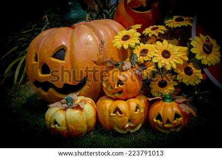 Halloween, pumpkins and Halloween scenery - stock photo