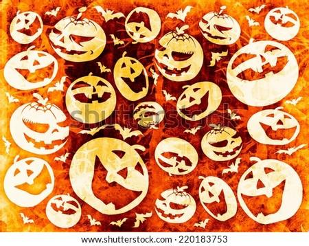 halloween pumpkins background wallpaper - stock photo