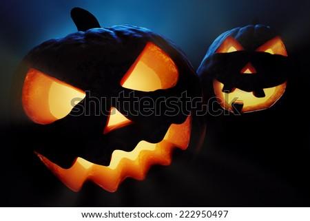 Halloween pumpkins close-up ( jack o'lantern ) - stock photo
