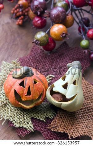 Halloween pumpkins decor - stock photo