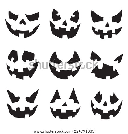 Halloween Pumpkins. Horror Persons. Emotion Variation. Raster. - stock photo