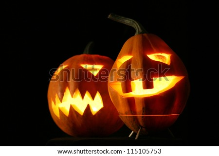 Halloween pumpkins jack-o-lantern - stock photo